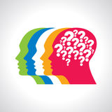 Silhouette of a question mark with human head Stock Images