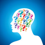 Silhouette of a question mark with human head Royalty Free Stock Photography