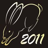 Silhouette of rabbit. Simbol of 2011 year Royalty Free Stock Images