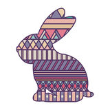 Silhouette rabbit easter with decorative texture Stock Photography
