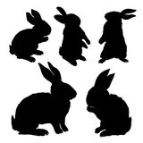 Silhouette of a sitting up rabbit, vector illustration. Silhouette rabbit, vector illustration, animal, easter, graphic hare icon isolated nature symbol bunny Royalty Free Stock Photo