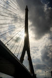 Silhouette of Rama 8 Bridge in Bangkok,Thailand. Silhouette of Rama 8 Bridge in Bangkok Royalty Free Stock Photos
