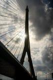 Silhouette of Rama 8 Bridge in Bangkok,Thailand Royalty Free Stock Photos