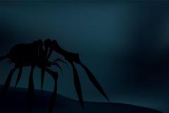 Silhouette rampante d'araignée au-dessus de fond foncé et bleu Vecteur Image libre de droits