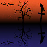 Silhouette of raven, cross, tree and bats Royalty Free Stock Photos