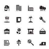 Silhouette Real Estate and building icons Royalty Free Stock Photography