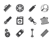 Silhouette Realistic Car Parts and Services icons Stock Photo