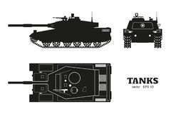 Silhouette of realistic tank blueprint. Armored car on white background. Top, side, front views War camouflage transport. Silhouette of realistic tank blueprint Stock Photos