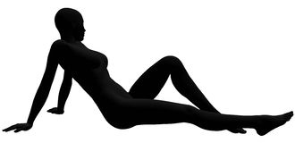 Silhouette of reclining woman. Isolated on black background Stock Photo