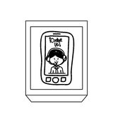 Silhouette rectangle button tech smartphone with man operator. Vector illustration Royalty Free Stock Photos