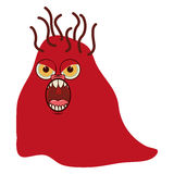 Silhouette red with bacteria cartoon shape Royalty Free Stock Photography