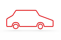 Silhouette red car on white background. Isolated 3D illustration.  Stock Images