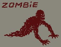Silhouette of a red crawling zombie with their legs torn off. Vector illustration. Drawing horror character design. Green color background Royalty Free Stock Photography