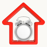 Silhouette of a red house with an alarm clock in Royalty Free Stock Images