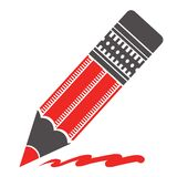 Silhouette of red pencil Royalty Free Stock Photo