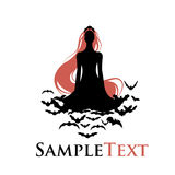 Silhouette of redhead vamp on a cloud of bats. Vector Illustration Stock Photos