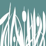 Silhouette of Reed Bush. Vector Illustration Royalty Free Stock Images