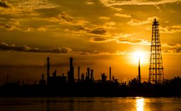 Silhouette of Refinery plant Stock Photography