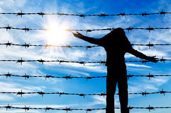 Silhouette of a refugee child Royalty Free Stock Image