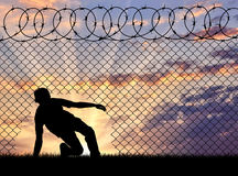 Silhouette of refugees crossed the border Stock Photo