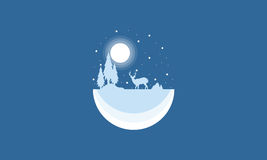 Silhouette of reindeer Christmas landscape. Illustration Royalty Free Stock Photos