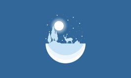Silhouette of reindeer Christmas landscape. Illustration Stock Illustration