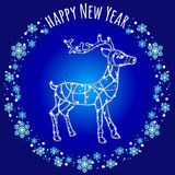 Silhouette reindeer of lights and text Royalty Free Stock Images