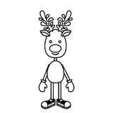 Silhouette reindeer standing with gloves and shoes. Illustration Stock Photography