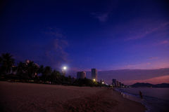 Silhouette of resort city against fantastic sky before sunrise Royalty Free Stock Photography