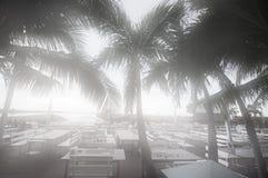 Silhouette restaurant. On the beach Stock Photo