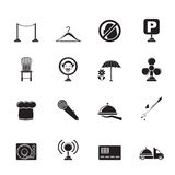 Silhouette restaurant, cafe, bar and night club icons Stock Photos