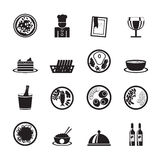 Silhouette Restaurant, food and drink icons Stock Photos