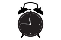 A silhouette of a retro alarm clock Stock Images