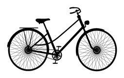 Silhouette of retro bicycle. On white background stock illustration