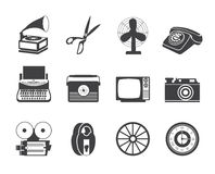 Silhouette Retro business and office object icons Royalty Free Stock Photo