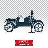 Silhouette of a retro car with driver Stock Photos