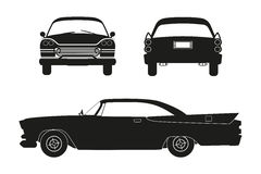 Silhouette of retro car. Vintage cabriolet. Front, side and back view. Royalty Free Stock Images