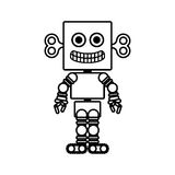 Silhouette retro robot toy flat icon. Vector illustration stock illustration