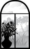 Silhouette of retro window Royalty Free Stock Photography