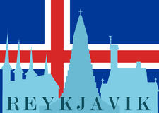 Silhouette of Reykjavik. The silhouette of the sights of Reykjavik in the background of the flag of Iceland. Vector illustration. Horizontal location Stock Images