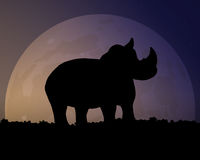 Silhouette of a Rhino on the background of the moon. Magical night sky. Black silhouette of a Rhino on the background of the huge moon. Magical night sky vector Stock Photography