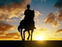Silhouette of a rider on a horse Royalty Free Stock Photography