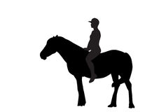 Silhouette of the Rider on the Horse. Vector Royalty Free Stock Photo