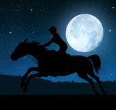 Silhouette of a rider on a running horse royalty free stock image