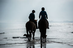 Silhouette of Riders at the beach riding horses Stock Photography