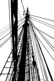 Silhouette of rig. Silhouette of the rig on an old sailing-ship. Black and white, isolated Royalty Free Stock Images