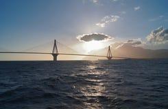 The silhouette of Rio–Antirrio bridge in the sunset Royalty Free Stock Photo