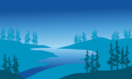 Silhouette of river and spruce. With blue backgrounds Royalty Free Stock Photography