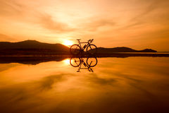 Silhouette road bicycle Royalty Free Stock Photography