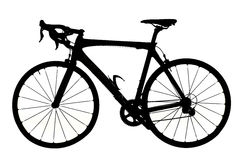 Silhouette of a road bicycle. Studio shot Royalty Free Stock Photos